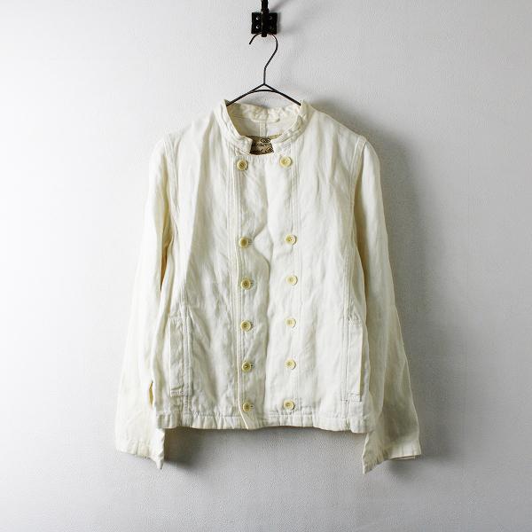 サンプル品 nest Robe ネストローブ リネン スタンドカラー ジャケット/オフホワイト トップス【2400012142626】