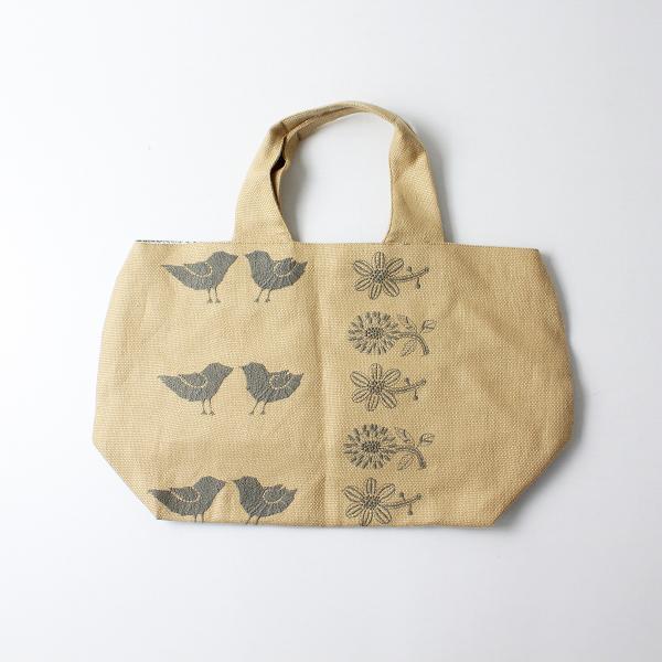 未使用品 2020SS mina perhonen ミナペルホネン tori to hana 刺繍 パニーニバッグ/ベージュ 鞄【2400012143760】