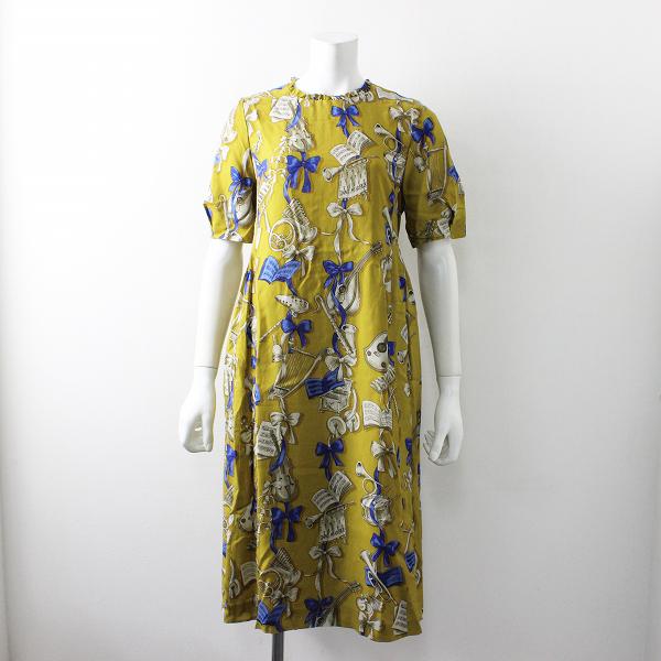 2018AW 定価4.9万 Jane Marple ジェーンマープル Pieces of music フリルカラー ランタンスリーブ ドレス M/イエロー【2400012150331】-.