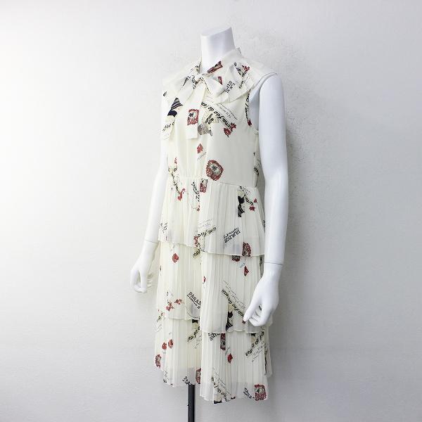 美品 定価3.4万 Lois CRAYON ロイスクレヨン レディプリント ワンピース M/アイボリー ティアード フリル 【2400012150690】