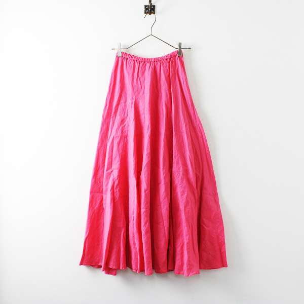 美品 2020SS 定価2万 Plage プラージュ リネン Linen Flared スカート 36/ピンク フレア ウエストゴム ボトムス【2400012151758】