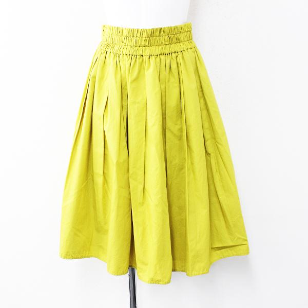 2017SS 春夏 Lois CRAYON ロイスクレヨン タックギャザースカート M/イエロー ゴム フレア【2400012153561】