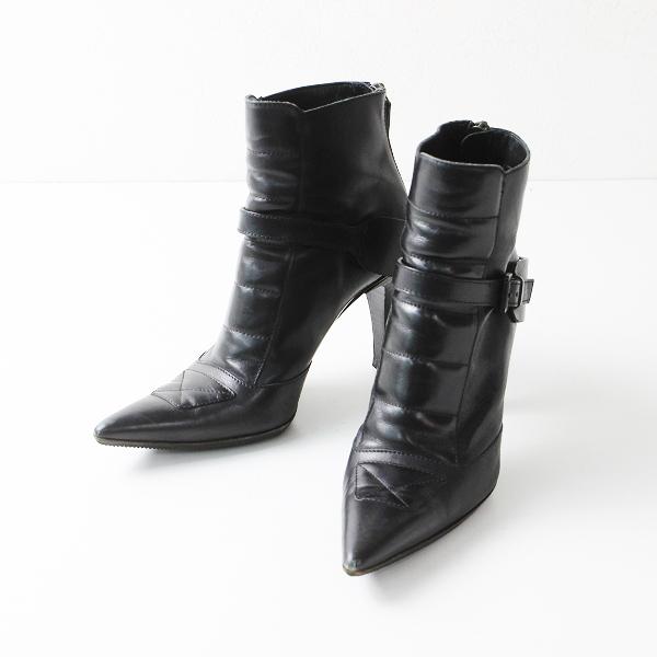 GUCCI グッチ レザー ポインテッドトゥ ベルト ショート ブーツ 37 1/2 /ブラック バックジップ シューズ【2400012153851】