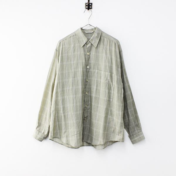 2019SS AURALEE オーラリー A9SS01GC SUPER LIGHT CHECK BIG SHIRTS スーパーライトチェックビッグシャツ3/【2400012156227】