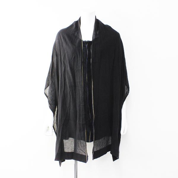 美品 Y's Yohji Yamamoto ワイズ ヨウジヤマモト コットンボイル ストールレイヤード調ワイドシャツ2/ブラック【2400012156289】