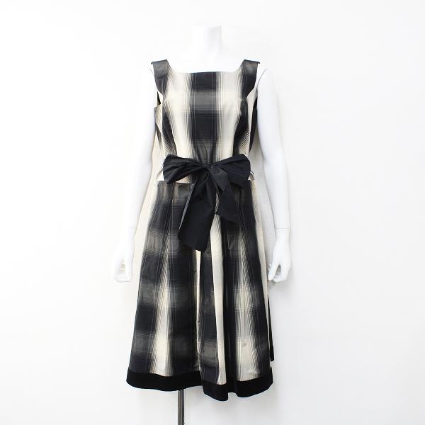 M'S GRACY エムズグレイシー 裾ベロア ベルテッド チェック ノースリーブ ワンピース 40/ブラック フレア【2400012159730】