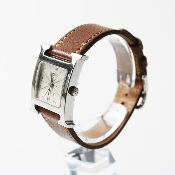 HERMES エルメス Hウォッチ クオーツ 腕時計/ブラウン □F刻印 HH1.210 動作未確認【2400012160156】