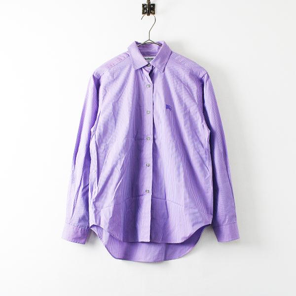 Burberrys バーバリーズ ホース刺繍 ストライプ コットン シャツ 8/パープル ブラウス【2400012160255】