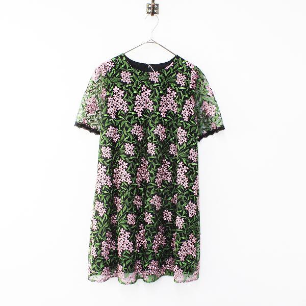 未使用品 2017SS Lois CRAYON ロイスクレヨン フラワー刺繍 ワンピース M/ブラックXピンク ドレス【2400012161696】