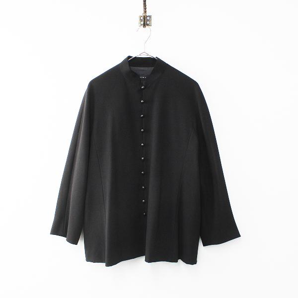 Jurgen Lehl ヨーガンレール ウッドボタン ウールスタンドカラージャケット M/ブラック 羽織り ハオリ【2400012162815】