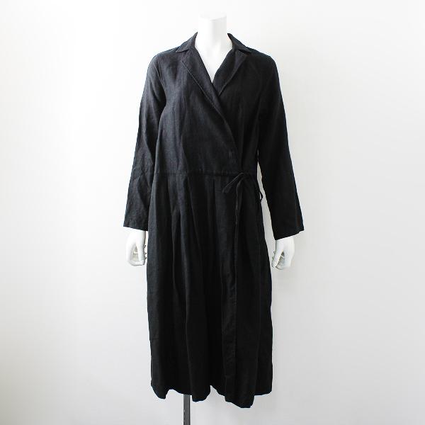 nest Robe ネストローブ リネン カシュクール ワンピース コート F/ブラック フレア【2400012164222】