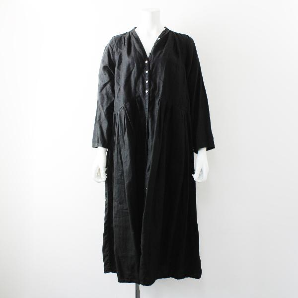 2017AW nest Robe ネストローブ リネン Yネック ドレス /ブラック ギャザー ワンピース【2400012164765】