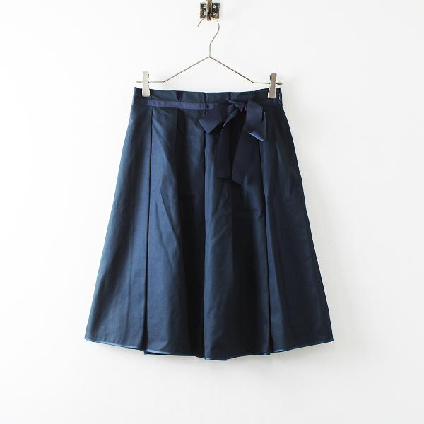 Lois CRAYON ロイスクレヨン コットン リボン フレア スカート M/ネイビー ボトムス【2400012167414】