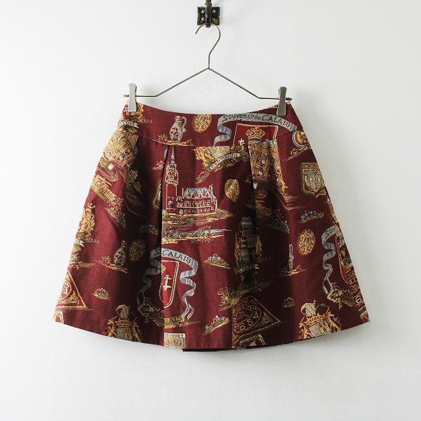 Jane Marple ジェーンマープル コットン混 ゴブラン フレア スカート M/ボルドー ミニ ボトムス【2400012167469】
