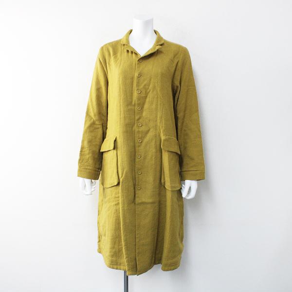 ichi Antiquite's イチ アンティークス リネンウール ベルテッドコート F/マスタード【2400012171152】