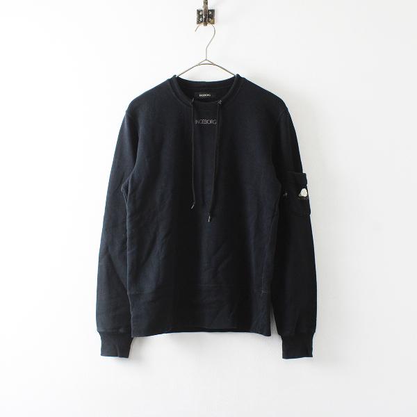 INGEBORG インゲボルグ 袖ポケット ロゴ刺繍 スウェット M/ブラック【2400012171855】