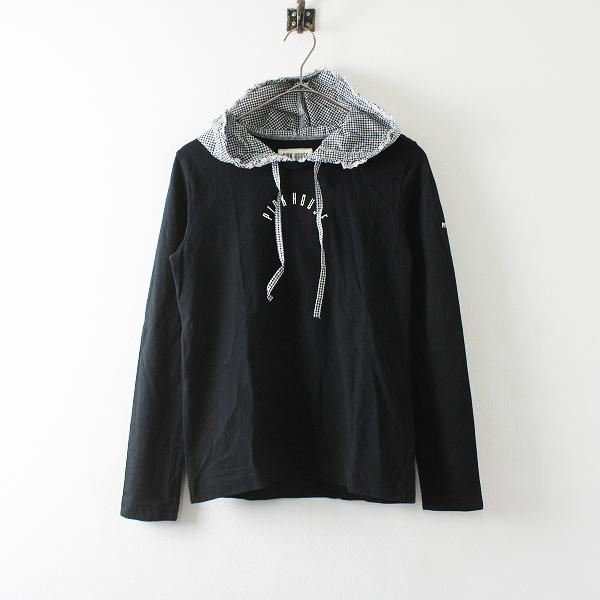 PINK HOUSE ピンクハウス ギンガムチェックフード付 ロゴプリント Tシャツ M/ブラック【2400012171886】