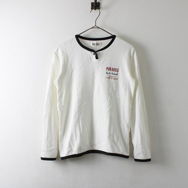 PINK HOUSE ピンクハウス ロゴ刺繍 パイピング ヘンリーネック Tシャツ M/ホワイト【2400012172005】