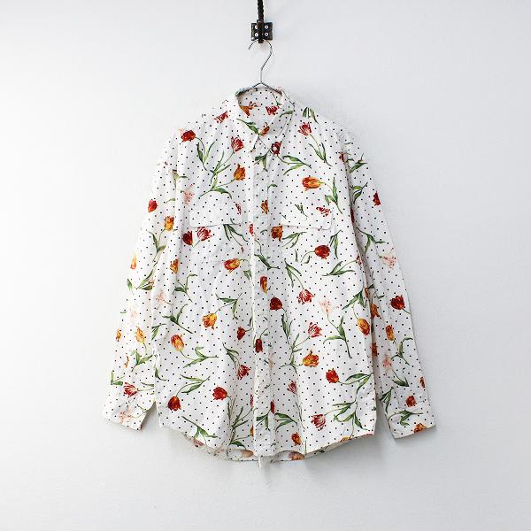 PINK HOUSE ピンクハウス チューリップ ドット プリント コットンシャツ F/ホワイト【2400012172036】
