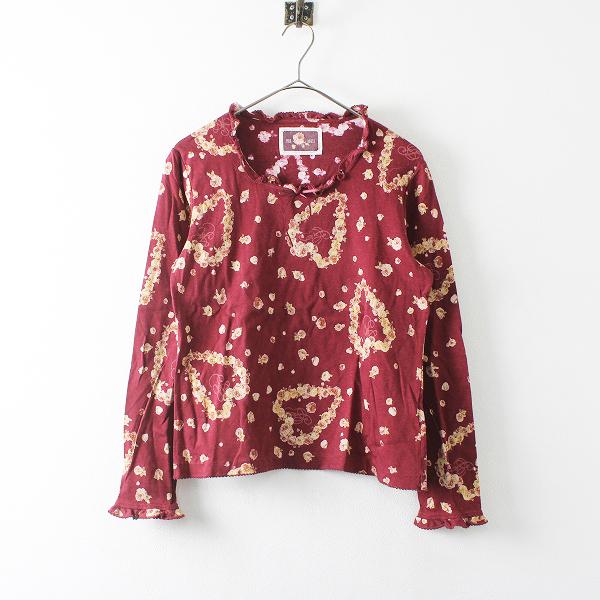 PINK HOUSE ピンクハウス ピコフリル ローズプリント Tシャツ F/ボルドー【2400012172692】