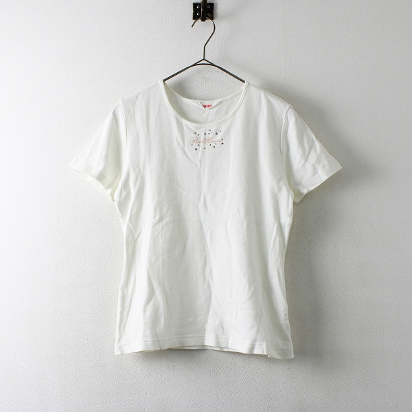 PINK HOUSE ピンクハウス ビジュー装飾 ロゴTシャツ L/ホワイト【2400012172784】