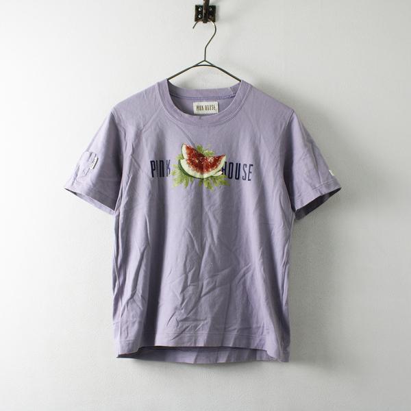 PINK HOUSE ピンクハウス ロゴ スイカ プリント Tシャツ M/パープル【2400012172791】