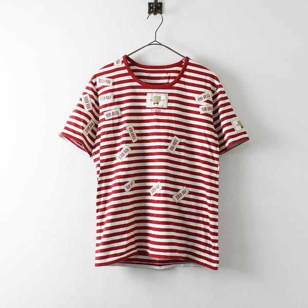 PINK HOUSE ピンクハウス ボーダー ワッペン Tシャツ M/レッド ホワイト【2400012172821】