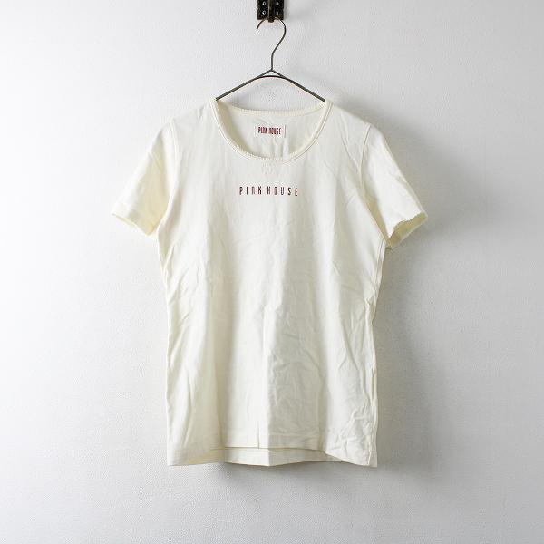 PINK HOUSE ピンクハウス リボン付 ロゴプリント Tシャツ M/アイボリー【2400012172838】