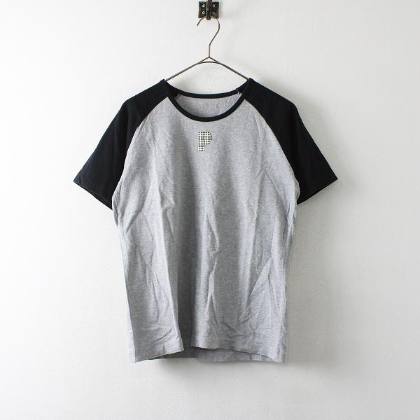 PINK HOUSE ピンクハウス Pロゴ ラグラン Tシャツ M/グレー ホワイト【2400012172845】