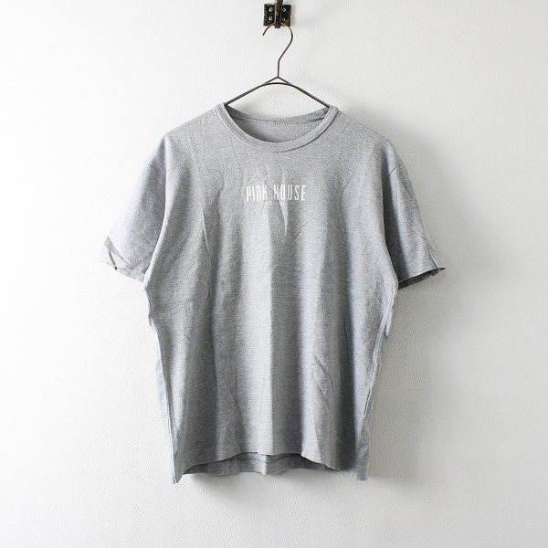 PINK HOUSE ピンクハウス バックワッペン ロゴプリント Tシャツ M/グレー【2400012172883】