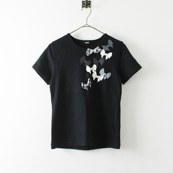 PINK HOUSE ピンクハウス リボンモチーフ ロゴプリント Tシャツ M/ブラック【2400012172913】