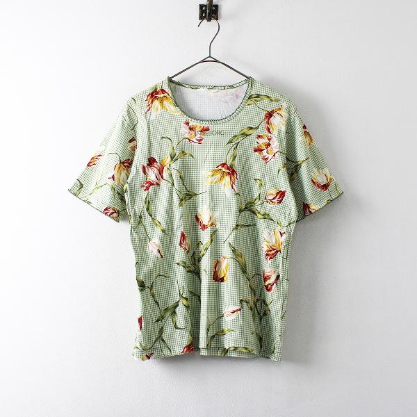 INGEBORG インゲボルグ ロゴ フラワー ギンガムチェック プリント Tシャツ F/グリーン【2400012172951】