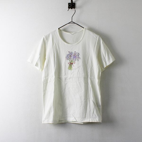 PINK HOUSE ピンクハウス ブーケプリント Tシャツ L/アイボリー【2400012173040】