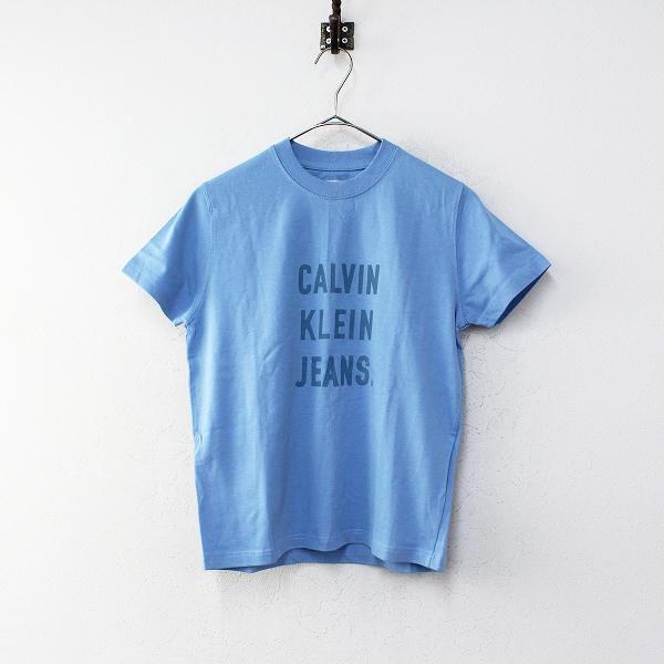 美品 Calvin Klein Jeans カルバンクラインジーンズ フロントロゴプリントコットンTシャツ レディース S/ブルー【2400012174894】