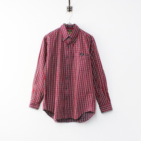 AIGLE エーグル ボタンダウン チェックシャツ S/レッド メンズ【2400012178175】