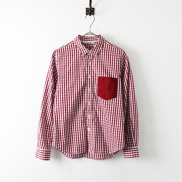美品 GRANDMA MAMA DAUGHTER グランマママドーター ギンガムチェック コットンシャツ 0/レッド【2400012181625】