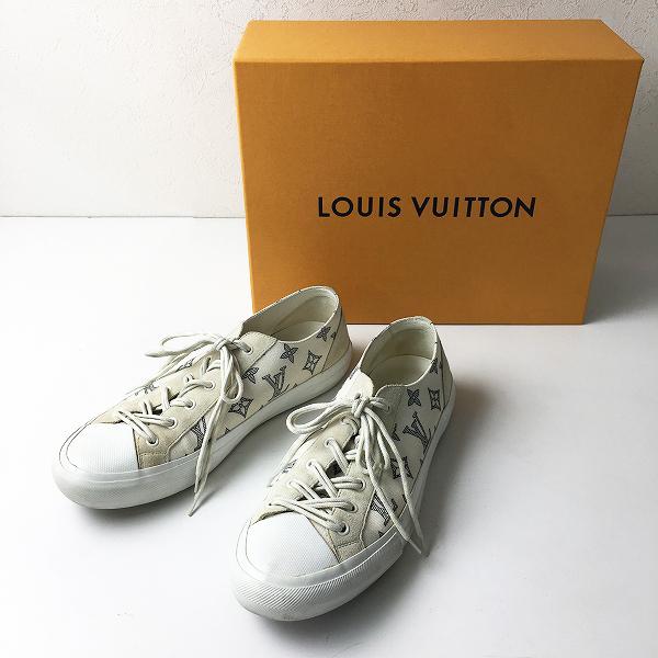 メンズ LOUIS VUITTON ルイ ヴィトン タトゥーライン モノグラムキャンバスローカットシューズ 7.5//アイボリー【2400012184961】