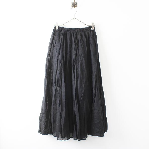 2019SS 定価1.3万 IENA イエナ コットンボイルギャザーパネルスカート 38/ブラック ボトムス【2400012186927】-.