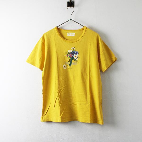 PINK HOUSE ピンクハウス フラワー ロゴ プリント コットン Tシャツ F/イエロー【2400012199200】