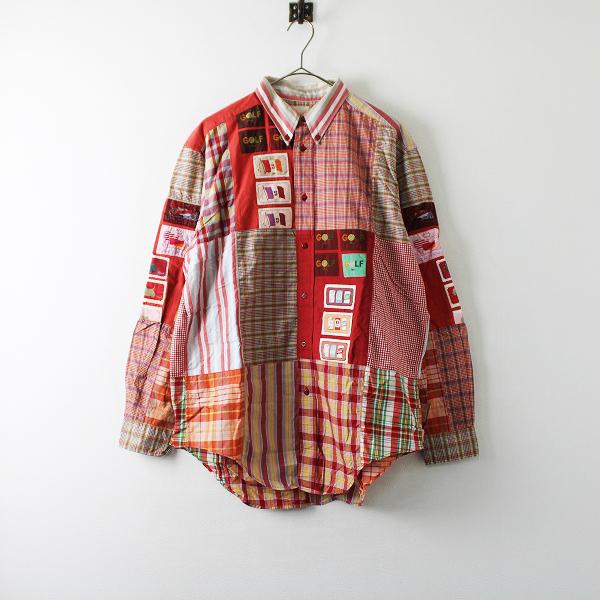 Karl Helmut カールヘルム ワッペン チェック パッチワーク ボタンダウンシャツ F/レッド メンズ【2400012199538】