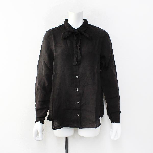 定価2万 2017AW nest Robe ネストローブ リネンシャツ F/ブラック系 ブラウス【2400012200210】