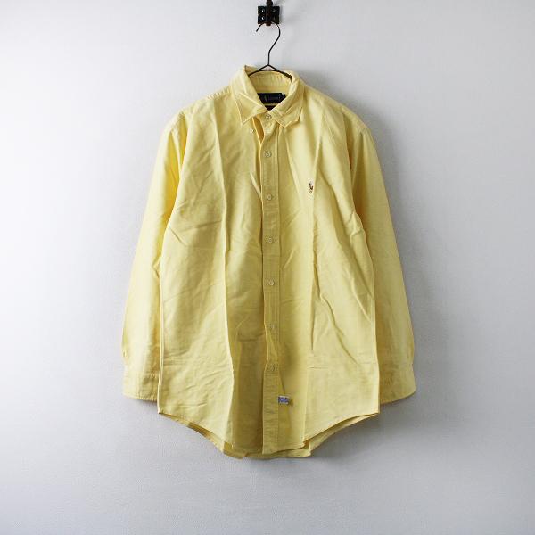 Ralph Lauren ラルフローレン ポニー刺繍 オックスフォード ボタンダウンシャツ 15-32/イエロー メンズ【2400012208148】