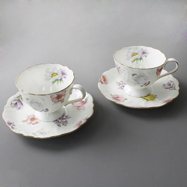NARUMI ナルミ 花柄 ティーカップ&ソーサー 2個セット/ホワイト【2400012208773】