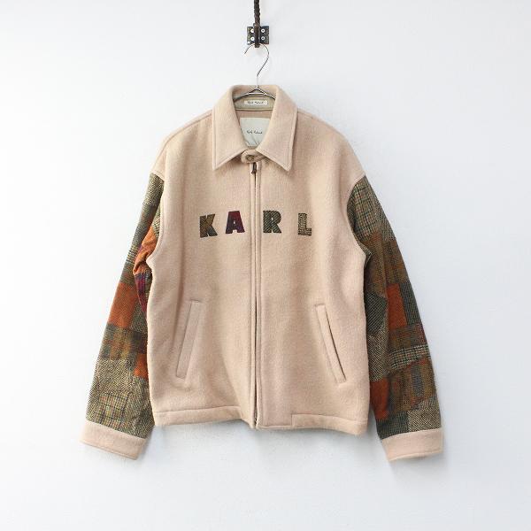 メンズ Karl Helmut カールヘルム ピンクハウス ロゴ刺繍 ツイードパッチワーク袖 ウールジャケット/ピンクベージュ【2400012211087】