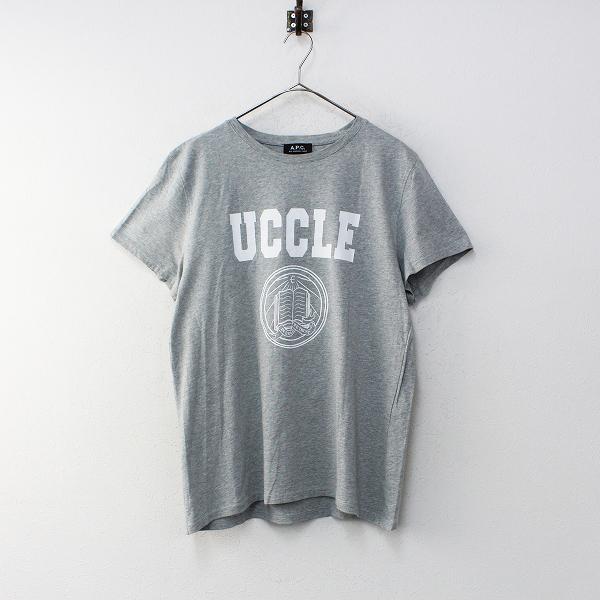 メンズ A.P.C. アーペーセー コットン UCCLE ロゴ Tシャツ L/グレー トップス【2400012212220】