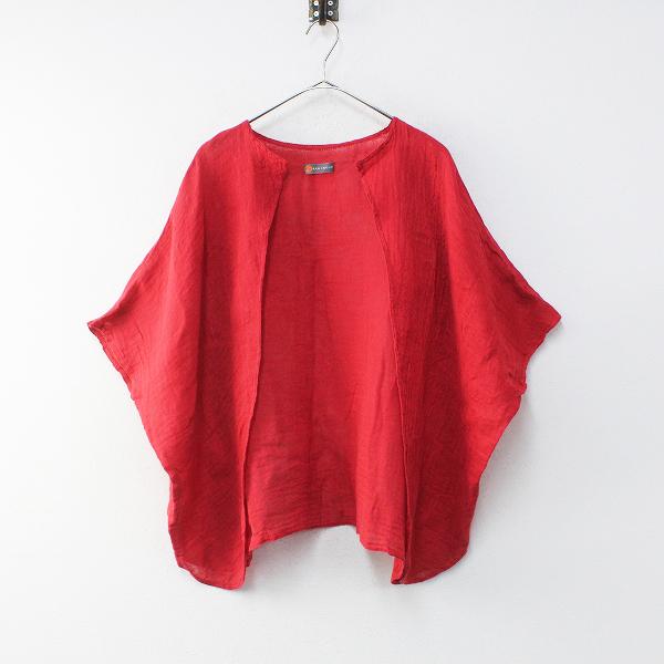 BAN INOUE 幡 CAYA かや 羽織り ブラウス / 赤 レッド メッシュ ガーゼ 染色加工【2400012215979】