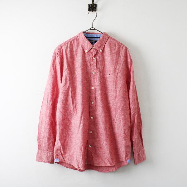 TOMMY HILFIGER トミーヒルフィガー コットンリネン ボタンダウンシャツ L/レッド メンズ シャンブレー【2400012216631】