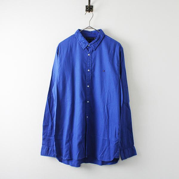 TOMMY HILFIGER トミーヒルフィガー ガーメントダイ ボタンダウンシャツ L/ブルー メンズ【2400012216655】