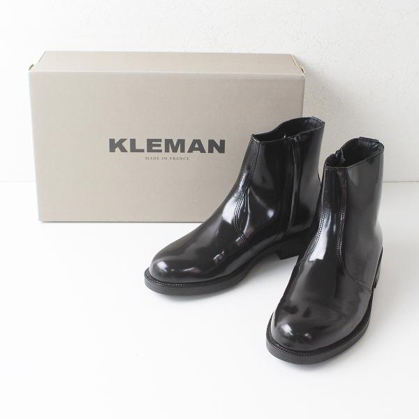 試着のみ極美品 KLEMAN クレマン ONAGRE オナーグル エナメルレザーショートブーツ 38/ブラック フランス製【2400012217386】