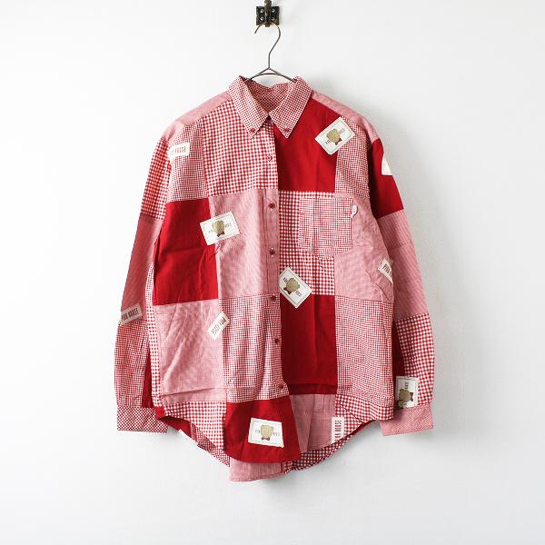 PINK HOUSE ピンクハウス くまワッペン パッチワーク チェック ボタンダウンシャツ F/レッド【2400012218970】